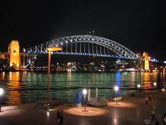 IMG_4269 - Bridge by Night with Opera House walkway (Mezza) Tags: bridge night harbour sydney cityscapes bridges australia sydneyharbour sydneyharbourbridge pc2000