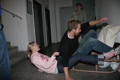 Basit and Sandra III (BNNS.de) Tags: sport fun sandra indoor treppe staircase bianca bibi kisd bernhard sledge schlitten koch bastian erbse