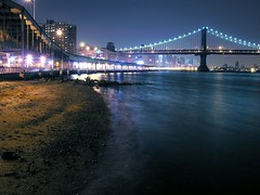 east river beach (nj dodge) Tags: nyc longexposure bridge beach topf25 night lights manhattan listeningto bridges tire promenade manhattanbridge eastriver tyre fdr vanmorrisondayslikethis