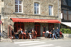 Creperie du Port (raggedyanne6982) Tags: trip windows france building stone port outside restaurant tables creperie dinan