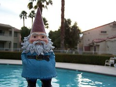 gnome at pool - by lesleyhyphenanne