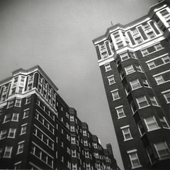Marott Apartments (tstrayer76) Tags: blackandwhite usa brick 120 film architecture mediumformat holga downtown apartments indianapolis indiana meridian fallcreek thecontinuum marott tstrayer76