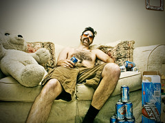 Homage to an unknown Redneck (wiseacre photo) Tags: shirtless portrait beer face sunglasses interestingness moustache lazy wiseacre redneck hillbilly whitetrash hick paularmstrong
