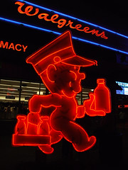 Milkman (Curtis Gregory Perry) Tags: old vegas blue light red signs classic luz glass sign night vintage advertising licht milk bottle neon glow bright lasvegas lumire nevada tube tubes ne retro nv signage delivery glowing dying walgreens luce muestra important signe sinal neons  zeichen non segno     teken     glowed    neonic