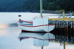 Motorboat (Clyde Barrett) Tags: reflection newfoundland boat fishing wharf nl motorboat nfld clydebarrett