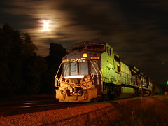 Conrails by night (Luke Sharrett) Tags: railroad light sky moon green bulb night clouds train dark virginia timelapse exposure track skies darkness tracks engine rail trains lynchburg shutter rails dash8 extendedexposure norfolksouthern conrail lynchburgva wonderfulworldmix