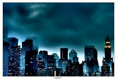 Gotham (Arnold Pouteau's) Tags: nyc newyorkcity newyork skyline clouds dark downtown manhattan gotham hdr fromthebridge p1f1 nyc10