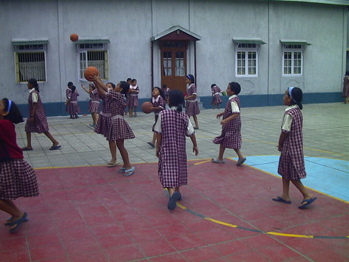 School Girls Playing Ball