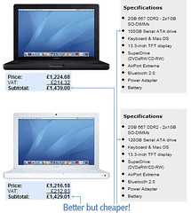 New macbooks - spot the difference (lloydi) Tags: apple macintosh mac duo intel core macbook macbookpro