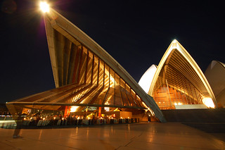 surreal shot of the opera house at night