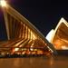 surreal shot of the opera house at night