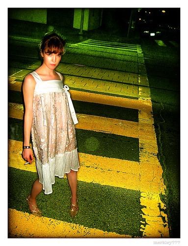 hot girl at crosswalk
