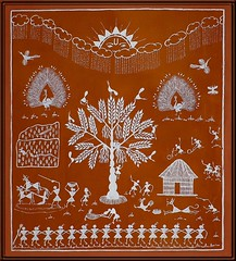 A fine folkart tradition - Warli Painting (Pandiyan) Tags: brown art painting folkart earthy pandiyan wallpainting pondicherry auroville warli warlidesign