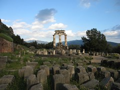 Tholos and Athena Temple (Pierre Metivier) Tags: temple europe delphi greece gaia athena stage6 delphes tholos vcmb marmaria peloponnese canons80 veloponnese