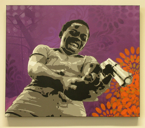man with gun stencil