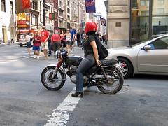motorcycle mama (snapawayoungman) Tags: red woman sex honda cafe cool rad helmet yamaha mean suzuki saucy kawasaki racer 400four
