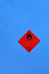 3 (dnik) Tags: blue red 3 sign warning flame signage rectangle inflammable