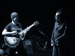 Bono & The Edge, 11\14\05, Miami, Florida, American Airlines Arena (bonobaltimore) Tags: u2 blackwhite bono theedge vertigotour miamiflorida bonobaltimore november142005 americanairlinesarena michaelkurman mikekurman