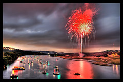 The Rocket's Red Glare (Stuck in Customs) Tags: sunset red party summer usa lake reflection night austin river golf boats boat town nikon texas nightshot d70 fireworks 4 explosion july firework course celebration golfcourse coloradoriver fourthofjuly townlake independence 4thofjuly july4 independenceday hdr lakeaustin bestshot 360bridge partyboat photomatix tophdr nikonstunninggallery top20fireworks twtmeblogged stuckincustoms