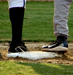 high and low (Boston Wolverine) Tags: college foot shoe baseball capecod massachusetts leg bourne brewster base braves cleat summerleague highsocks whitecaps firstbase capeleague