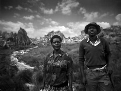 Chimanimani National Park (herwigphoto.com) Tags: africa family bw woman man mountains nature couple gun stock zimbabwe 4x5 pressensbild envirnoment southofmutare