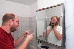You are trapped! (Siebbi) Tags: portrait selfportrait reflection me self beard shaved bart twin portrt mirrored reflektion mirroring selbstportrt zwilling rasiert interestingness294 2for2 i500