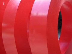 Circular (Alfred Hermida) Tags: red canada vancouver scarlet circle artwork curves round ruby