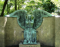 A Guarding Angel. (peculiar235) Tags: ohio angel death wings hands cleveland headstone crying creepy morbid gravestone gravemarker lakeviewcemetery