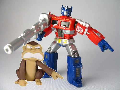 "Optimus is totally doing the ""evil monkey"" pointing!!!"