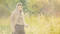 Sun filled field (Wojtek Piatek) Tags: ireland woman sun girl field grass walking golden haze hours zeiss135 sonya99