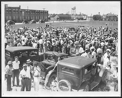 Strikers gather in front of Phillips Factory F: 1937 (washington_area_spark) Tags: cambridge anna white black john james industrial african packing labor union phillips maryland company american jail strike neary trade leif cannery arrest afl dahl picket 1937 mcknight interracial cio cephus