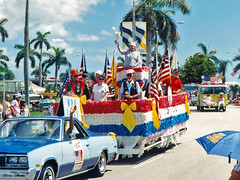 Elks Float, Fourth on Flagler Parade, 1991 (StevenM_61) Tags: holiday car unitedstates florida westpalmbeach parade 1991 float independenceday 1990s