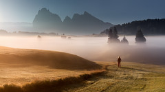 Sunbathe (Radisa Zivkovic) Tags: mountain sunrise fog woman travel dolomites italy alps tyrol tree mist meadow people field peak idyllic girl highland countryside landscape nature scenery outdoor beautiful vastness sunlight women environment person