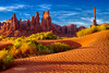 Long Shadows... (Howard Brown Photographic) Tags: monument valley utah arizona hdr totem pole sand dunes dune ripples ripple shadow shadows rabbit grass rock rocks formation formations red orange clay iron spire cloudsstormssunrisessunsets