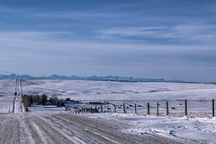 the cold road (hey ~ it's me lea) Tags: alberta road winter foothills landscape mountains fenceline 52weekproject 52in52 prairie prairiesky