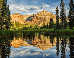 Hesperus Peak Mirror (Guy Schmickle) Tags: centennialpeak colorado hesperuspeak laplatarange sanjuanmountains sanjuannationalforest twinlakes reflection