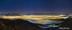 Paysage panoramique de nuit (Rémy Berruyer) Tags: autopano grenoble kolor oloneo seyssinetpariset montagne nuit panoramique paysage