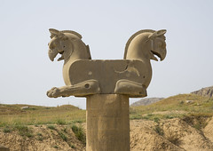 Achaemenid Griffin, Fars Province, Persepolis, Iran (Eric Lafforgue) Tags: sky sculpture history archaeology statue horizontal architecture outdoors photography ancient asia day iran persia nobody nopeople unescoworldheritagesite stonewall orient griffin persepolis ruined artandcraft traveldestinations  oldruin  ancientcivilisation colourimage  iro iranianculture  farsprovince achaemenidempire animalrepresentation  iran150242