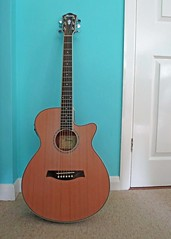 Birthday Guitar (Daisy Waring World) Tags: white wall acousticguitar torquoise ibanezaeg15iilg