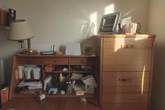 Mom & Dad's Desk (GC_Dean) Tags: color lamp colors colours shadows cabinet desk interior space structure homeoffice mundane hdr highdynamicrange emptiness organized sociallandscape subtlehdr