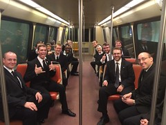 Seminarians on the bus to see Pope Francis - September 2015
