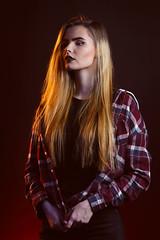 In Red (KristjanJ) Tags: dark dramatic portrai studio lit coloured colored colorful colourful model girl beautiful blonde classy classical twist twisted