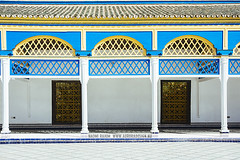 Bahia Palace - Marrakech, Morocco (Naomi Rahim (thanks for 3 million visits)) Tags: marrakech marrakesh morocco maroc northafrica africa 2016 travel travelphotography nikon nikond7200 wanderlust architecture bahiapalace blue yellow building lattice moors moorish door symmetrical