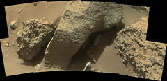 Smooth Surrounded by Rough (sjrankin) Tags: 22january2017 edited nasa mars msl curiosity galecrater panorama rough smooth rocks