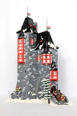 Harburg Castle (soccersnyderi) Tags: winter snow ice castle landscape moc creation model lego medieval manor wall stone tree bush interior tower roof tudor round window arrow slit technique design mitgardian mitgardia goh glorfindel eltz fortress
