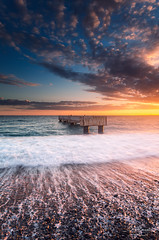 Lido Beach @ Nice (French Riviera) (Eric Rousset) Tags: fisherman sunrise plagedelapierreautambour beach plage nisi cloudy nisifstopperfilterirgnd809soft100x150mm3stops vnice shore shorescape lidobeach sunset pier ponton frenchriviera rocks landscape paysage seascape sea mer provencealpescôtedazur côtedazur france europe 2017 ericrousset winter canon canoneos5dmarkii canonef1740mmf4lusm photography waterscape slowshutterspeed portefiltrev5 nisifiltersfrance