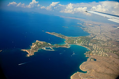 Landing in Athens (free3yourmind) Tags: landing athens ath greece window view panoramic blue sea clouds cloudy day sky city wing airplane plane flight vouliagmeni