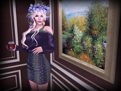 Prettier Than A Painting (lauragenia.viper) Tags: bento catwa desmonia exile glamaffair izzies lelutka lode lumipro secondlife secondlifefashion simone welovetoblog xxy purple pretty avatar girl virtual flowers glass painting wine blond blonde updo indoor person