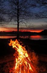 December glow (LellePelle) Tags: sunset solnedgång himmel sky eld fire campfire lägereld sjö lake skog forest is ice reflection winter vinter glöd glow träd tree