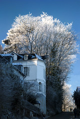 """house looks to be swamped by massive wave of white-frosted trees on road to Côte de Grâce, Honfleur, Calvados, Normandy, France (grumpybaldprof) Tags: """"lachapellenotredamedegrâce"""" """"côtedegrâce"""" equemauville """"montjoli"""" 1615 """"replacedpreviouschapelfoundedin1025"""" church chapel chapelle honfleur normandy normandie france calvados winter stack frost white blue wave sky frosted whitetrees trees sunshine bluesky tamron 16300 16300mm """"tamron16300mmf3563diiivcpzdb016"""""""